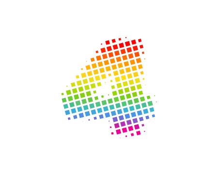 4 Halftone Letter Colorful Dot Logo Icon Design