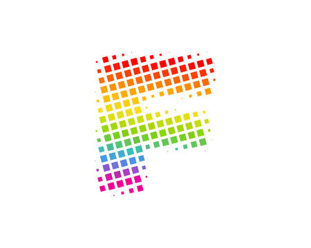 F Halftone Letter Colorful Dot Logo Icon Design