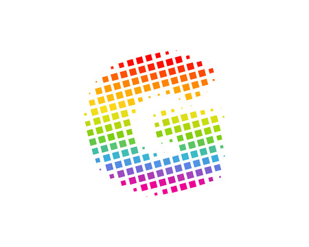 G Halftone Letter Colorful Dot Logo Icon Design
