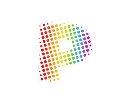 P Halftone Letter Colorful Dot Logo Icon Design Illustration