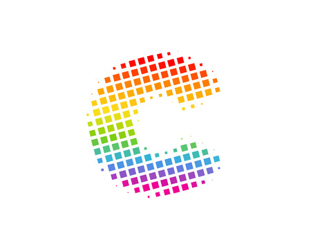 C Halftone Letter Colorful Dot Logo Icon Design