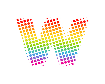 W Halftone Letter Colorful Dot Logo Icon Design Illustration
