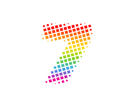 7 Halftone Letter Colorful Dot Logo Icon Design