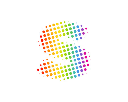 S Halftone Letter Colorful Dot Logo Icon Design