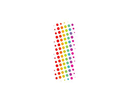 I Halftone Letter Colorful Dot Logo Icon Design