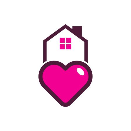 Love House Logo Icon Design Illustration