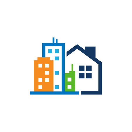Town House Logo Icon Design Vettoriali