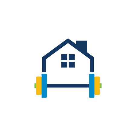 Barbell House Logo Icon Design