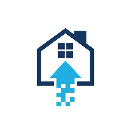 Upload House Logo Icon Design