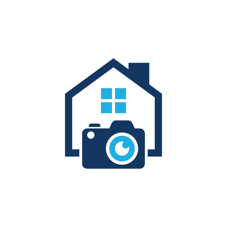 Camera House Logo Icon Design Vettoriali