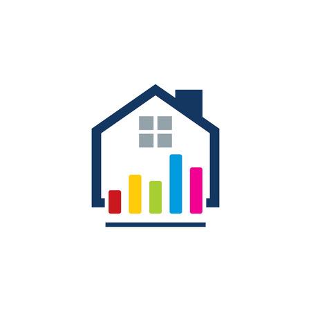 Graph House Logo Icon Design Illustration