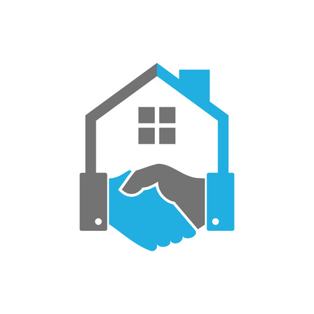 Handshake House Logo Icon Design Vettoriali