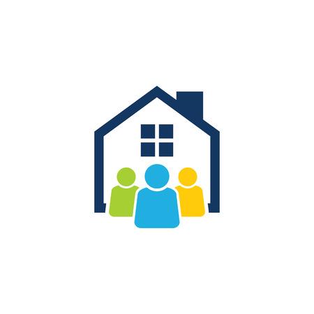 Group House Logo Icon Design Ilustração