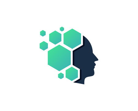 Hexagonal Human Head Logo Icon Design