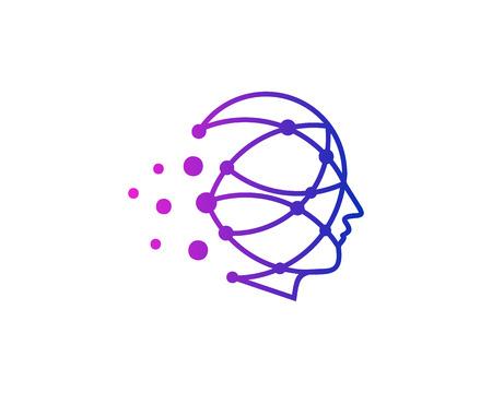 Conception d & # 39; icône de logo de tête humaine de point Logo