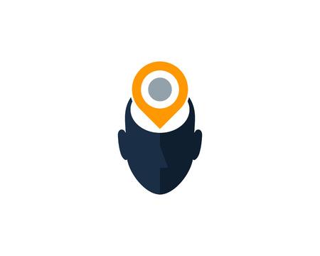 Pin Human Head Logo Icon Design Archivio Fotografico - 101451891