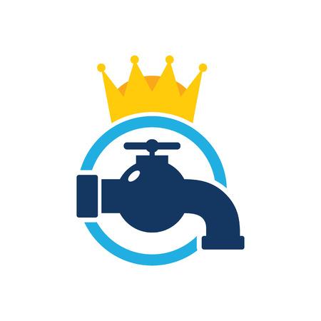 Plumbing King Logo Icon Design 向量圖像