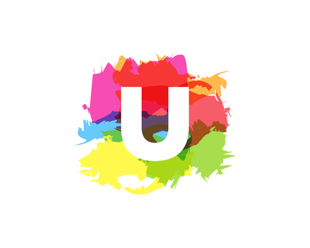 U Letter Abstract Paint Colorful Logo Icon Design