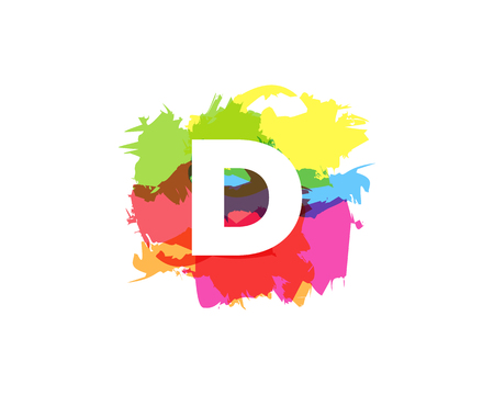 D Letter Abstract Paint Colorful Logo Icon Design
