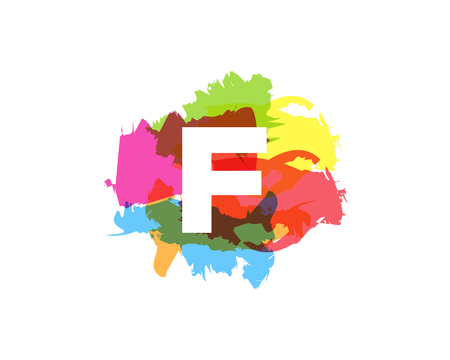 F Letter Abstract Paint Colorful Logo Icon Design Illustration