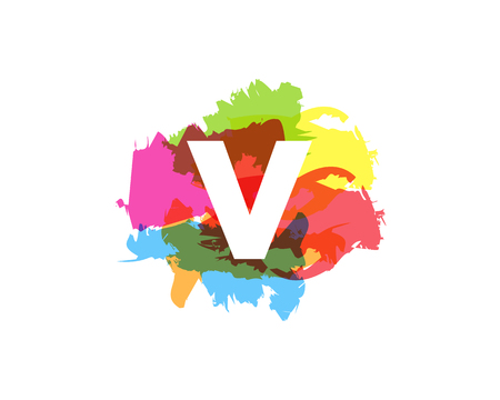 V Letter Abstract Paint Colorful Logo Icon Design Illustration
