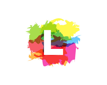 L Letter Abstract Paint Colorful Logo Icon Design