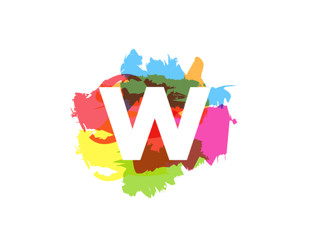 W Letter Abstract Paint Colorful Logo Icon Design