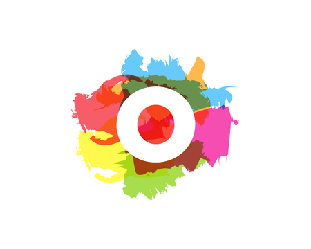 O Letter Abstract Paint Colorful Logo Icon Design