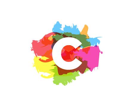 Diseño de icono de logotipo colorido pintura abstracta letra C