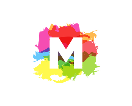 M Letter Abstract Paint Colorful Logo Icon Design  イラスト・ベクター素材