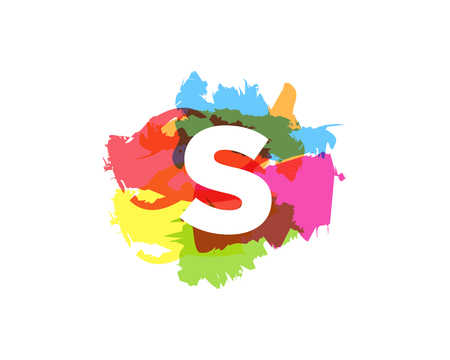 S Letter Abstract Paint Colorful Logo Icon Design  イラスト・ベクター素材