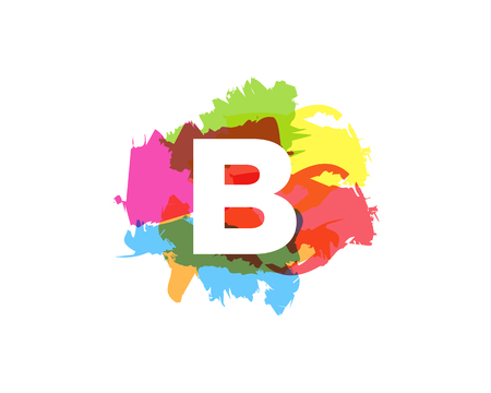 B Letter Abstract Paint Colorful Logo Icon Design