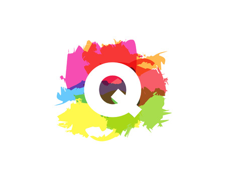 Q Letter Abstract Paint Colorful Logo Icon Design