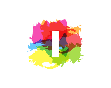 I Letter Abstract Paint Colorful Logo Icon Design Illustration