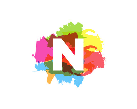 N Letter Abstract Paint Colorful Logo Icon Design Illustration