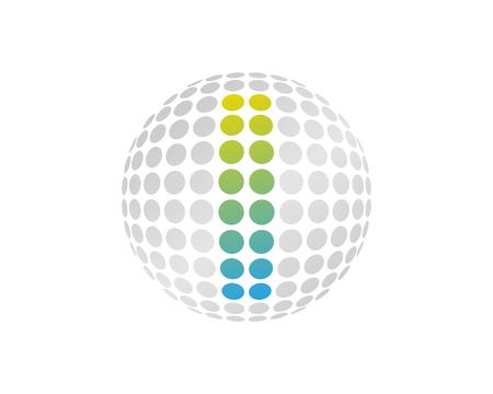 I Letter Dot Sphere Logo Icon Design Illustration