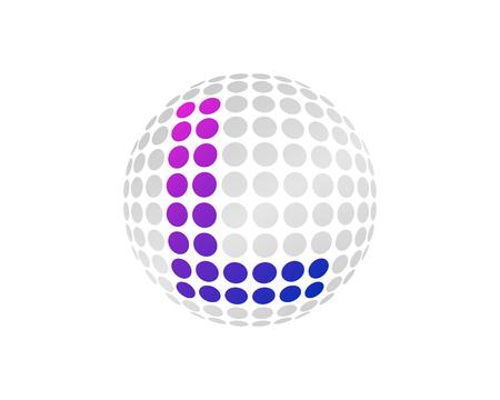 L Letter Dot Sphere Logo Icon Design