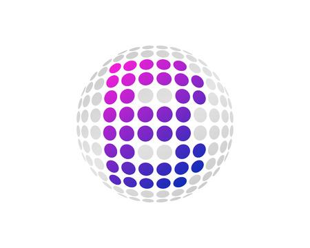 B Letter Dot Sphere Logo Icon Design Illustration