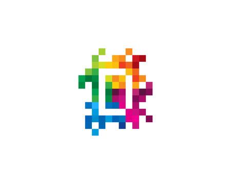 D Letter Mosaic Pixel Logo Icon Design Ilustração