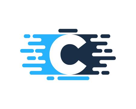 Conception d'icône de logo de couleur de peinture lettre C