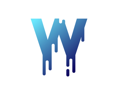 W Letter Paint Wet Logo Icon Design Illustration