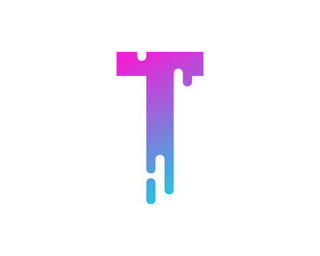 T Letter Paint Wet Logo Icon Design