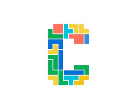 C Letter Puzzle Logo Icon Design