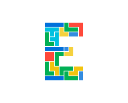 E Letter Puzzle Logo Icon Design