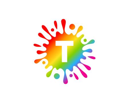 Diseño de icono de letra T Splash Ilustración de vector