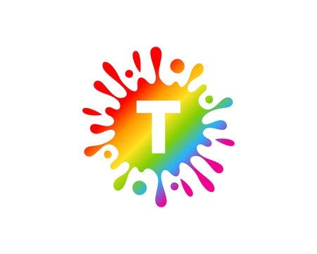 T Letter Splash Logo Icon Design