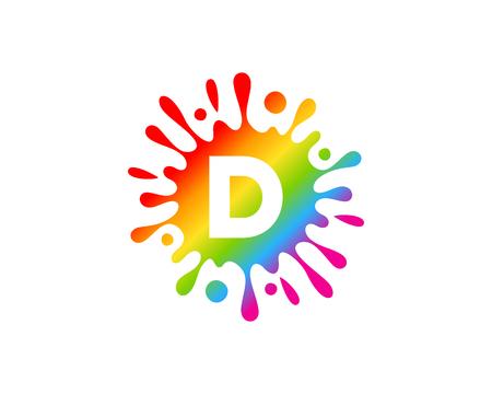 D Letter Splash Logo Icon Design