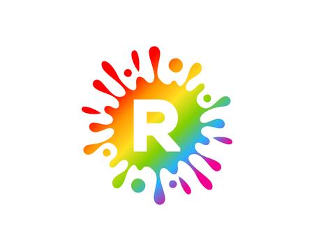 R Letter Splash Logo Icon Design