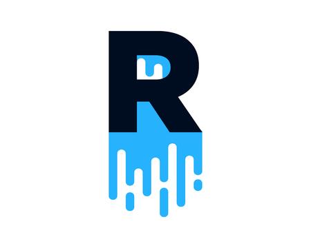 Conception d'icône de logo de peinture humide lettre R