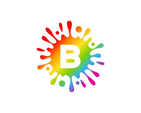 B Letter Splash Logo Icon Design